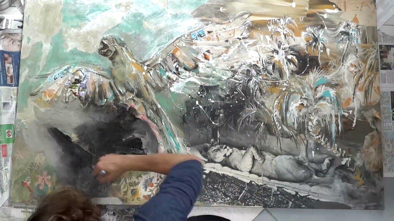 Peindre l 39 acrylique art inspiration exotique lionne adamson youtube - Peindre a l acrylique ...