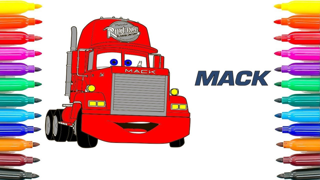 How To Draw Cars 3 Mack Coloring Pages Paint Funny Book