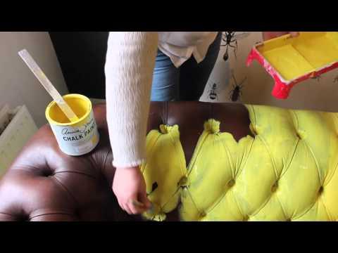 Leren Bank Verfen.Annie Sloan Chalkpaint Nederlands Leer Verven Youtube
