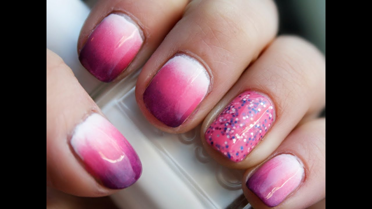 Dégradé de vernis rose et mauve - Tuto Nail Art - YouTube