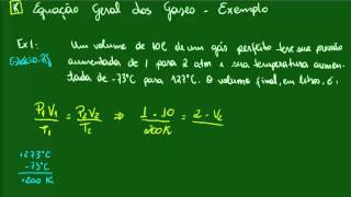 Equação Geral dos Gases - Exemplo