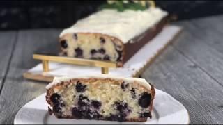 كيكة التوت الأزرق والليمون مع التشيز فروستنق blueberry cake