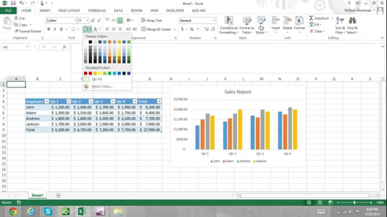 excel for noobs part 51  how to apply excel themes excel 2016 tutorial excel 2013 tutorial