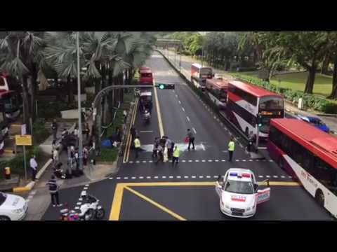 Aftermath of bus accident which killed pedestrian outside Toa Payoh bus  interchange