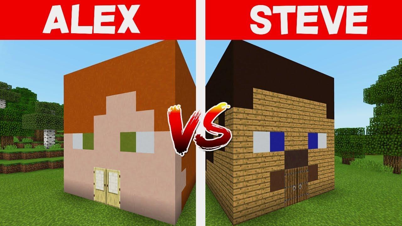 Alex House Vs Steve House In Minecraft Pocket Edition Youtube