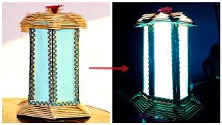 DIY NightLight Table Lamp - New Popsicle Sticks Idea 2020