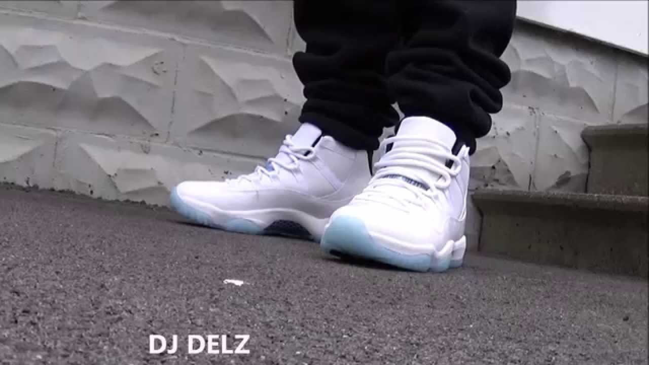 Air Jordan Legend Blue Retro 11 Shoes On Feet + Thoughts On The Release For  2014 With @DjDelz - YouTube
