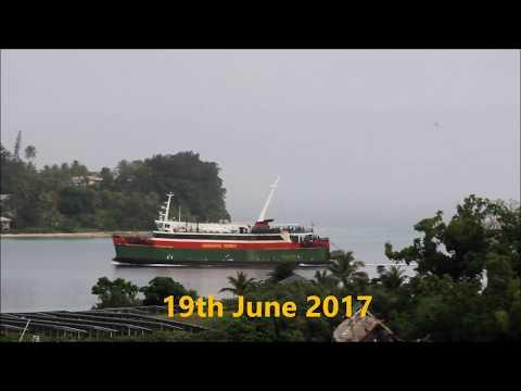 Vanuatu Ferry enter Port Vila Harbor in Vanuatu 2017.
