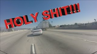 Car Tire EXPLODES in Front of Motorcycle!!!
