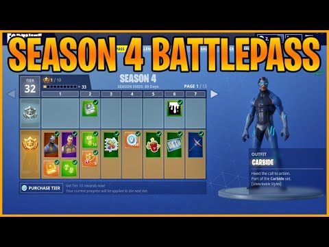 SEASON 4 BATTLEPASS COSMETICS! All Skins, Gliders, Emotes, And More!