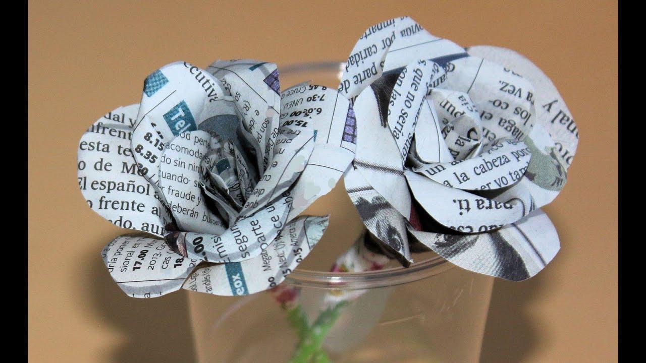 C mo hacer flores de papel para regalar rosas de per odico manualidades con reciclaje youtube - Manualidades con papel periodico paso a paso ...