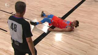 Watch <b>Steven Adams</b> Fail At Flipping Up From The Floor During Game