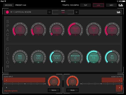RF 1 Artificial Reverb AUv3 Standalone & Audiobus iPad Demo