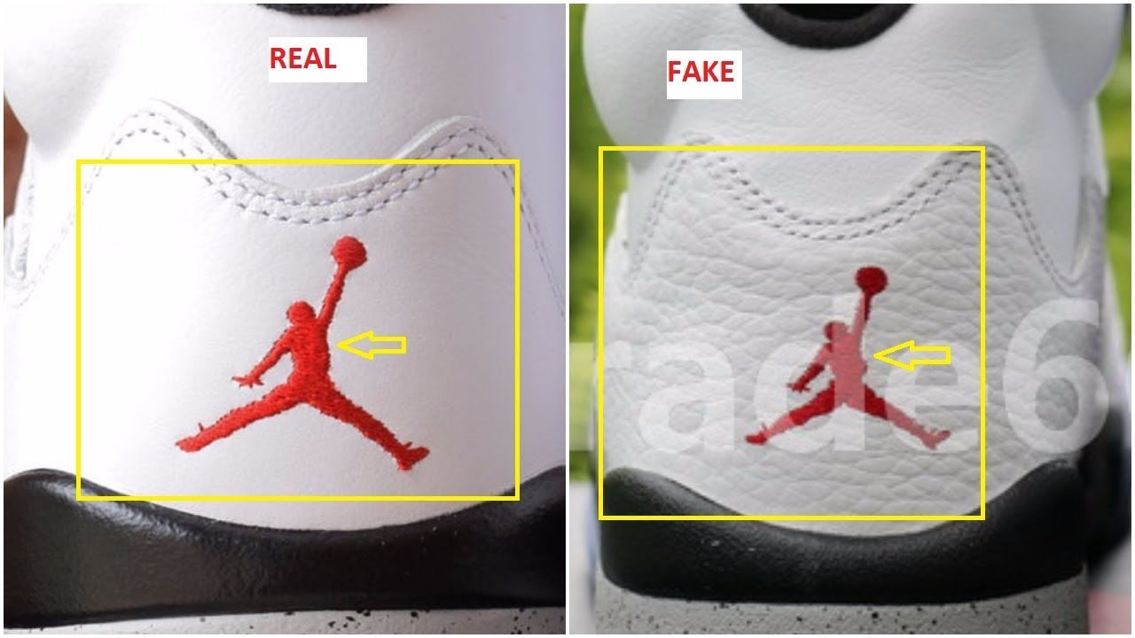 newest cc189 073e0 Fake Air Jordan 5 V White Cement Spotted-Quick Ways To Identify Them
