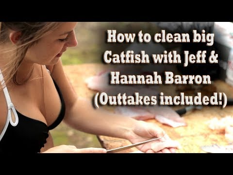 Jeff & Hannah Barron show how to clean big Catfish! (outtakes included!) skin / fillet