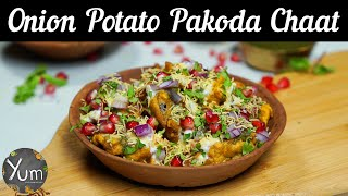 Onion Potato Pakoda Chaat
