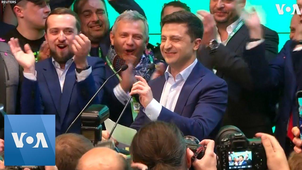 TV Actor Zelenskiy Celebrates Win in Ukrainian Presidential Race