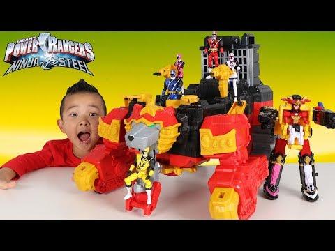 BIGGEST Power Rangers Ninja Steel Lion Fire Fortress Zord Shuriken Sentai Ninninger Ckn Toys