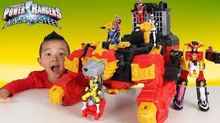 BIGGEST Power Rangers Ninja Steel Lion Fire Fortress Zord Shuriken Sentai Ninninger Ckn Toys thumbnail