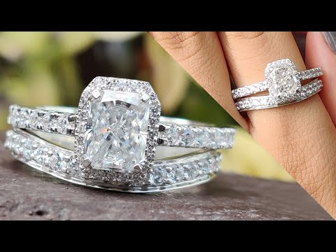 2.93-tcw-radiant-colorless-moissanite-hidden-halo-ring-with-curvey-stackable-band-|-wedding-band