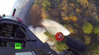 Национальная гвардия Калифорнии борется с пожарами — видео из кабины вертолёта