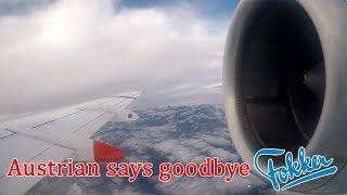 FULL FLIGHT Austrian Airlines Fokker 100 OE-LVE onboard FAREWELL FLIGHT