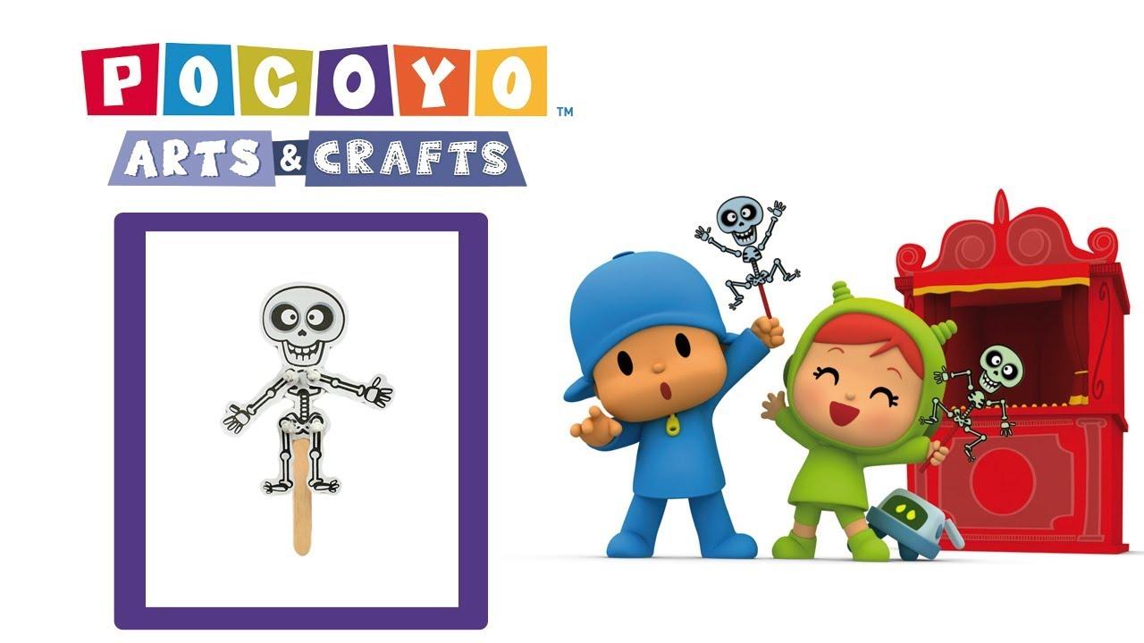 Youtube Art And Craft: Pocoyo Arts & Crafts: Skeleton Puppet