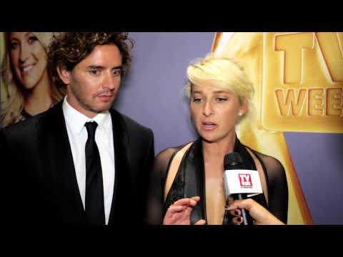Newlyweds Asher Keddie and Vincent tauzzo at the 2014 Logies