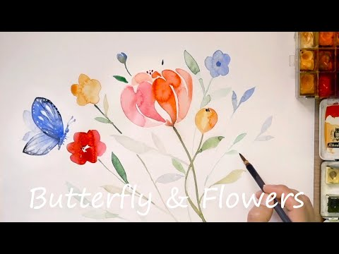 Easy watercolor painting for beginners / How to paint flowers