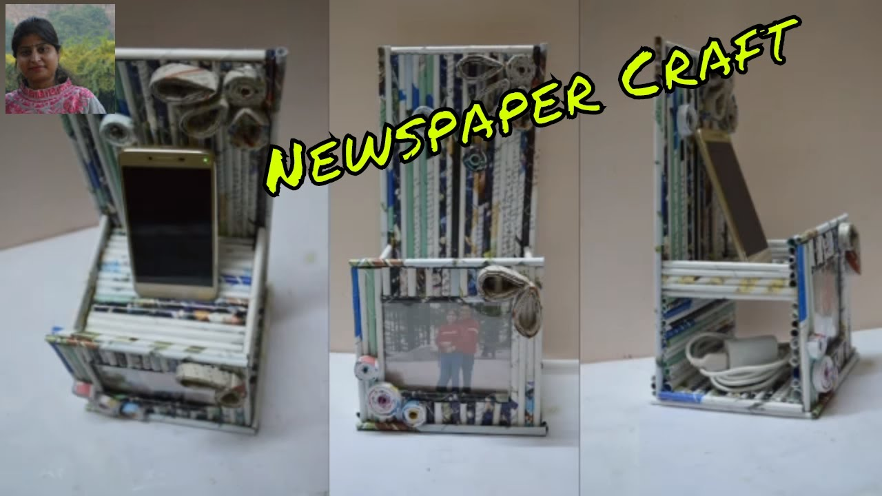Diy craft mobile holder by waste newspaper newspaper for Products made out of waste