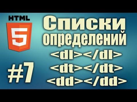 Cписки определений HTML. Теги Dl Dt Dd. Frontend разработка. HTML5 для начинающих. Урок#7
