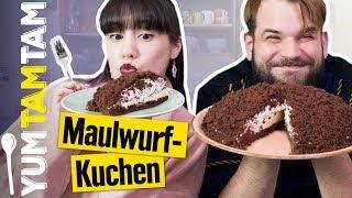 Maulwurfkuchen mit Bananen // Rezept mit Stracciatella-Creme & Schokokuchen // #yumtamtam