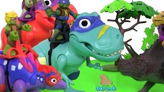 Черепашки Ниндзя Мультик! T-REX WITH ДИНОЗАВРЫ ИГРАЮТ В ФУТБОЛ! TMNT Динозавры для Детей