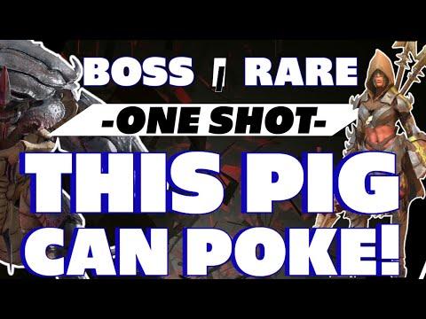 Pigsticker RARE vs Scarab King! one shot? Raid Shadow Legends Pigsticker guide Scarab king guide
