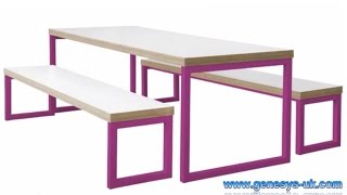Block Steel Colour Breakout Table And Bench | Breakout Furniture