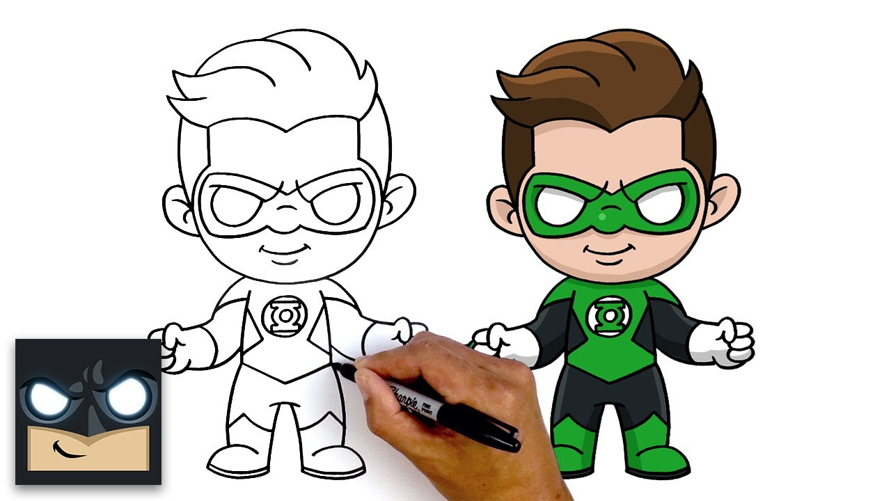 How To Draw Green Lantern Step By Step Tutorial Youtube