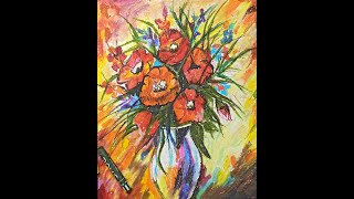 Flower Vase Painting with Oil Pastels Demo | Art of Oil Pastels