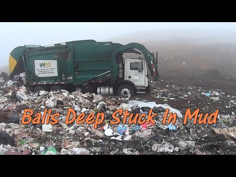 Garbage Trucks Stuck in the Mud at the Landfill - All Roll Off All Day - Nothing Broke!!!