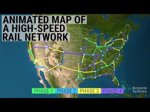 This animated map shows how radically a high-speed train system would improve travel in the US