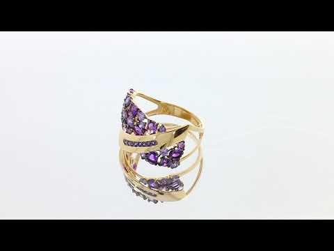 Золотое кольцо с аметистом арт. кл2994-3ск-си