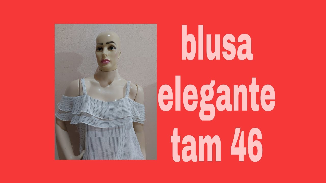 Blusa Elegante Com Babado nos Ombros Tam 46