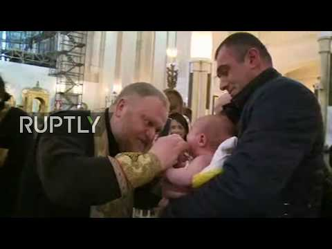 LIVE: Georgian Orthodox church patriarch holds mass baptism ceremony