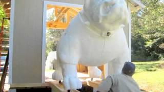 Final Detail Carving On A Gigantic Foam Bulldog Mascot