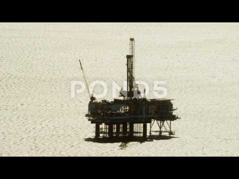 Aerial View Of An Oil Rig Offshore Los Angeles Usa