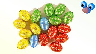 Learn colors with Surprise Eggs. Unboxing and Play with Chocolate Eggs for Kids Fun Video for Babies