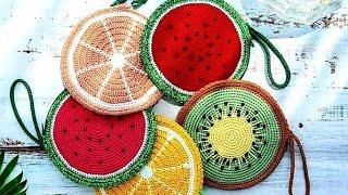 4 фантазийные 🍑🍋🍉сумки-фрукты, вязаные крючком.