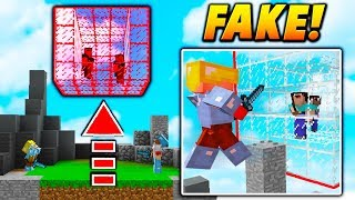 FAKE CAGE PLAYER TROLL! - Minecraft SKYWARS TROLLING (GLITCHED PLAYER!)