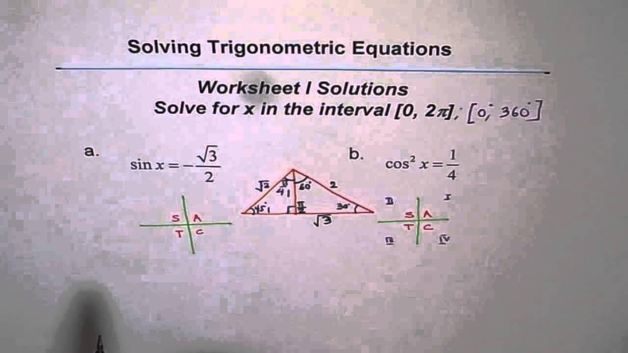 Trigonometric Equations Worksheet I Solutions Q1 and Q2 YouTube – Solving Trig Equations Worksheet