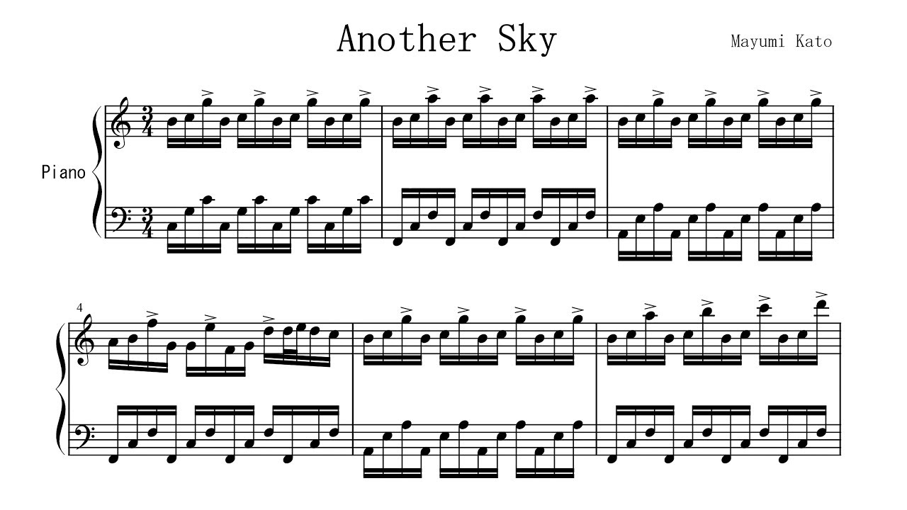 """Another Sky"" by Mayumi Kato FREE SHEET MUSIC P  Barton, FEURICH piano"