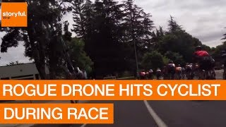 Rogue Drone Hits Cyclist During Race